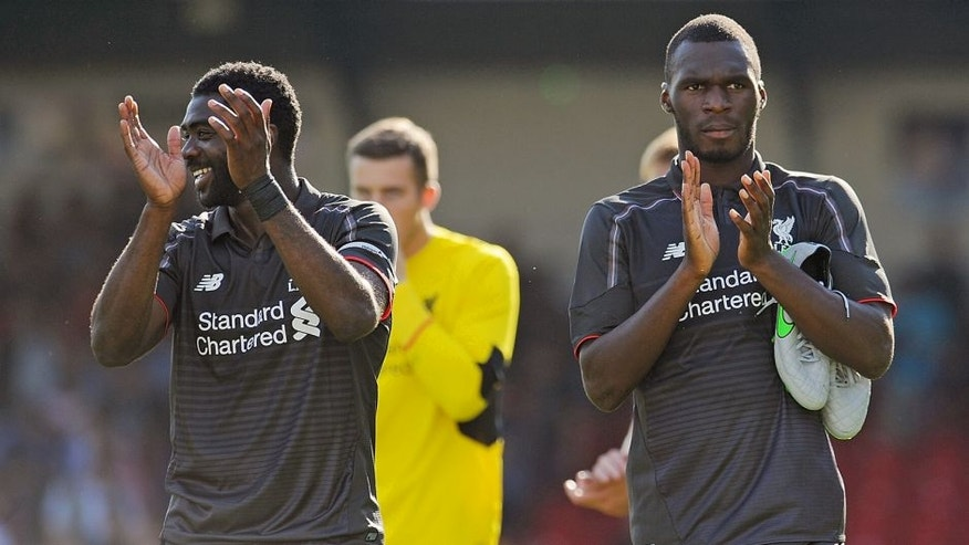 Christian Benteke of Liverpool shows his appreciation to the fans at the end of a preseason friendly at County Ground on August 2, 2015 in Swindon, England. (Photo by Andrew Powell/Liverpool FC via Getty Images)