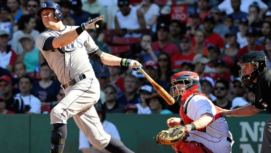 Aug 2, 2015; Boston, MA, USA; Tampa Bay Rays third baseman Evan Longoria (3) hits a double during the eighth inning against the Boston Red Sox at Fenway Park. Mandatory Credit: Bob DeChiara-USA TODAY Sports