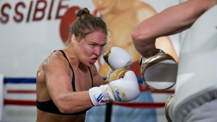 July 15, 2015: Mixed martial arts fighter Ronda Rousey trains with trainer Edmond Tarverdyan at Glendale Fighting Club in Glendale, Calif.