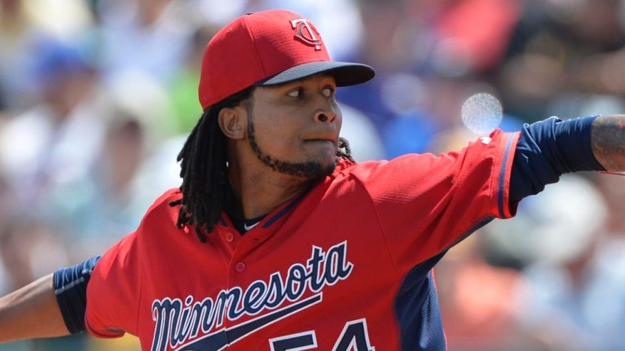 Mar 13, 2015; Bradenton, FL, USA; Minnesota Twins starting pitcher Ervin Santana (54) pitches during the second inning against the Pittsburgh Pirates at McKechnie Field.