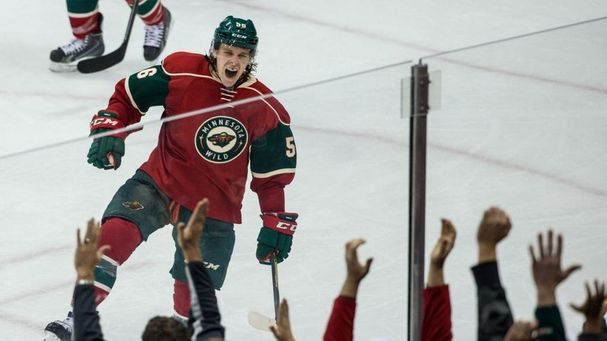 Tuesday, December 9: Minnesota Wild forward Erik Haula celebrates his goal during the third period against the New York Islanders at Xcel Energy Center. The Wild won 5-4.