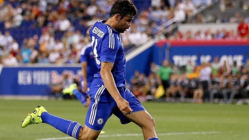 HARRISON, NJ - JULY 22: Diego Costa #19 of Chelsea takes a shot in the second half against the New York Red Bulls during the International Champions Cup at Red Bull Arena on July 22, 2015 in Harrison, New Jersey.The New York Red Bulls defeated Chelsea 4-2. (Photo by Elsa/Getty Images)