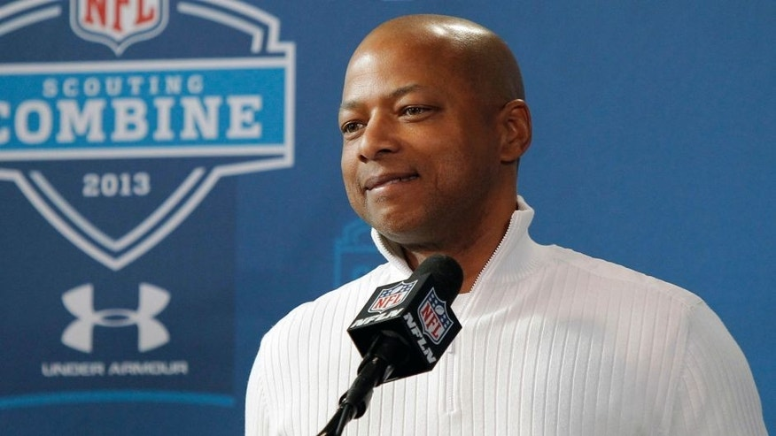 Feb 23, 2013; Indianapolis, IN, USA; New York Giants general manager Jerry Reese speaks at a press conference during the 2013 NFL Combine at Lucas Oil Stadium. Credit: Pat Lovell-USA TODAY Sports