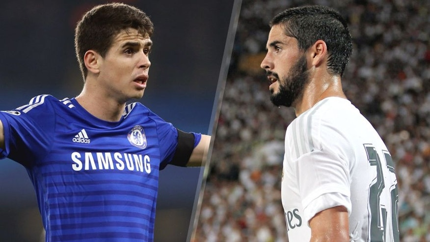 L - LONDON, ENGLAND - MARCH 11: Oscar of Chelsea reacts during the UEFA Champions League Round of 16, second leg match between Chelsea FC and Paris Saint-Germain FC at Stamford Bridge stadium on March 11, 2015 in London, England. (Photo by Jean Catuffe/Getty Images) R - GUANGZHOU, CHINA - JULY 27: Isco of Real Madrid looks on during the International Champions Cup China 2015 match between Real Madrid and FC Internazionale at Tianhe Stadium on July 27, 2015 in Guangzhou, China. (Photo by Zhong Zhi/Getty Images)