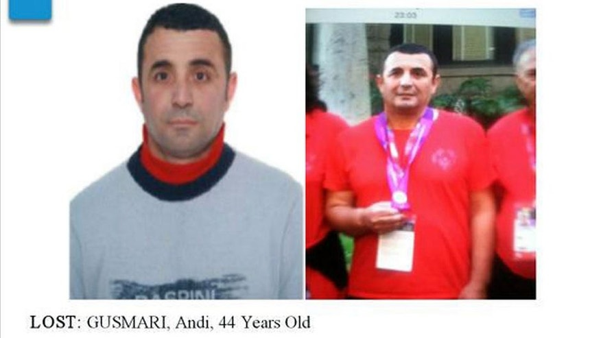 "<p>This undated photo provided by the Los Angeles Police Department shows a missing person's poster for Andi Gusmari. Police are seeking the public's help in finding the Albanian athlete who disappeared after participating in the Special Olympics. The LAPD says 44-year-old Gusmari was last seen Saturday, Aug. 1, 2015, at the University of Southern California. According to investigators, Gusmari was wearing a red shirt that says ""Albania"" on the back of it when he went missing. Gusmari suffers from a speech impediment and does not speak English. (Los Angeles Police Department via AP) MANDATORY CREDIT</p>"