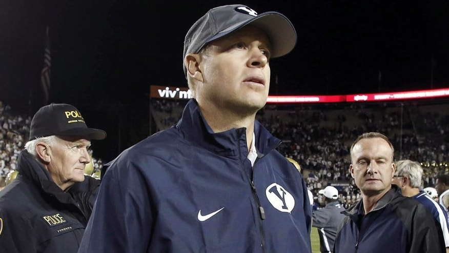 Oct 12, 2013; Provo, UT, USA; Brigham Young Cougars head coach Bronco Mendenhall after the second half of a football game against the Georgia Tech Yellow Jackets at Lavell Edwards Stadium. Brigham Young Cougars won 38-20. Mandatory Credit: Jim Urquhart-USA TODAY Sports