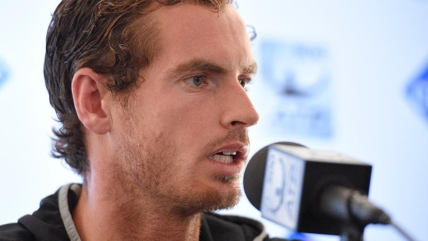Andy Murray, of Britain, speaks at a press conference at the Citi Open tennis tournament, Monday, Aug. 3, 2015, in Washington. (AP Photo/Nick Wass)