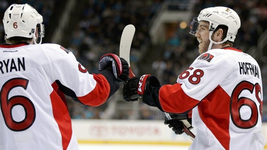 SAN JOSE, CA - FEBRUARY 28: Mike Hoffman #68 is congratulated by Bobby Ryan #6 of the Ottawa Senators after he scored a goal in the third period against the San Jose Sharks at SAP Center on February 28, 2015 in San Jose, California. (Photo by Ezra Shaw/Getty Images)