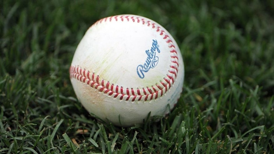 Apr 20, 2015; Kansas City, MO, USA; A baseball sits on the field before the game between the Minnesota Twins and the Kansas City Royals at Kauffman Stadium.