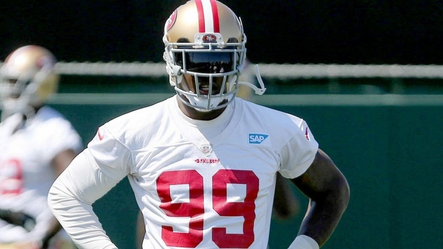 Jun 17, 2014; Santa Clara, CA, USA; San Francisco 49ers outside linebacker Aldon Smith (99) during minicamp at the 49ers practice facility. Mandatory Credit: Kelley L Cox-USA TODAY Sports