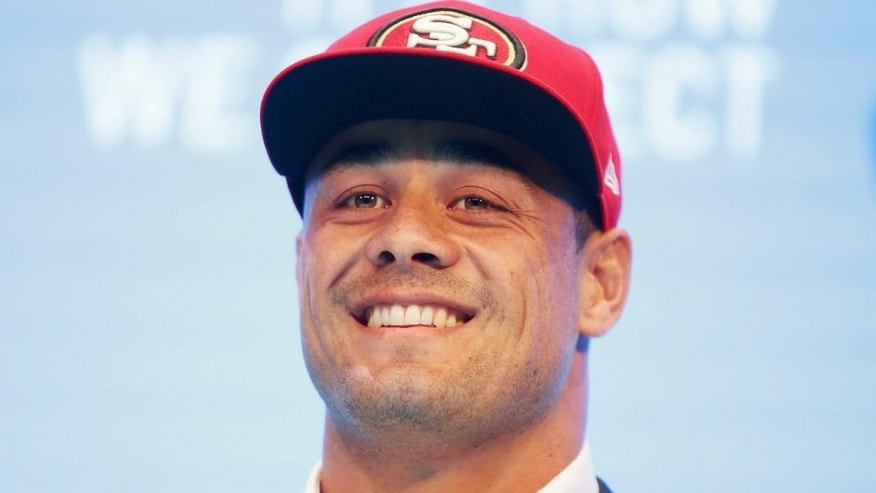 SYDNEY, AUSTRALIA - MARCH 03: Jarryd Hayne speaks to the media during a press conference at the Telstra Amphitheatre on March 3, 2015 in Sydney, Australia. Hayne has signed a NFL futures contract with the San Francisco 49ers. (Photo by Matt King/Getty Images)