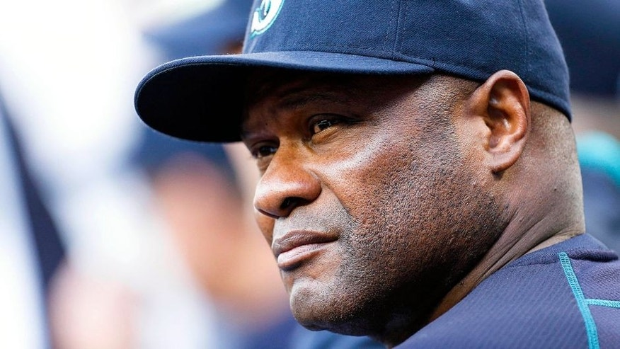 <p>May 28, 2015; Seattle, WA, USA; Seattle Mariners manager Lloyd McClendon (23) looks out from the dugout before a game against the Cleveland Indians at Safeco Field. Mandatory Credit: Joe Nicholson-USA TODAY Sports</p>