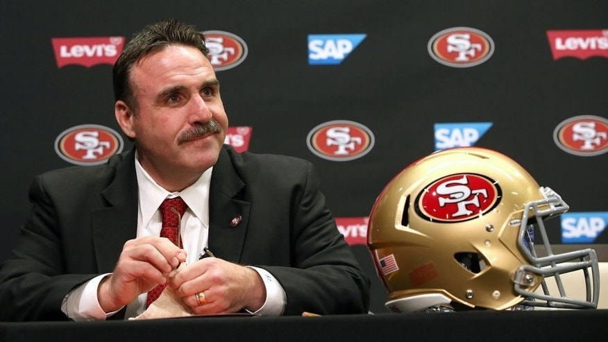 SANTA CLARA, CA - JANUARY 15: Jim Tomsula speaks during a press conference at Levi's Stadium on January 15, 2015 in Santa Clara, California. The San Francisco 49ers announced Jim Tomsula as their new head coach to replace Jim Harbaugh. (Photo by Justin Sullivan/Getty Images)