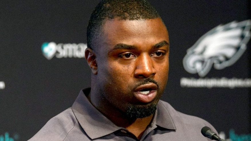 Jul 29, 2013; Philadelphia, PA, USA; Former Philadelphia Eagles running back Brian Westbrook address the media at a press conference at the Eagles NovaCare Complex. Mandatory Credit: Howard Smith-USA TODAY Sports