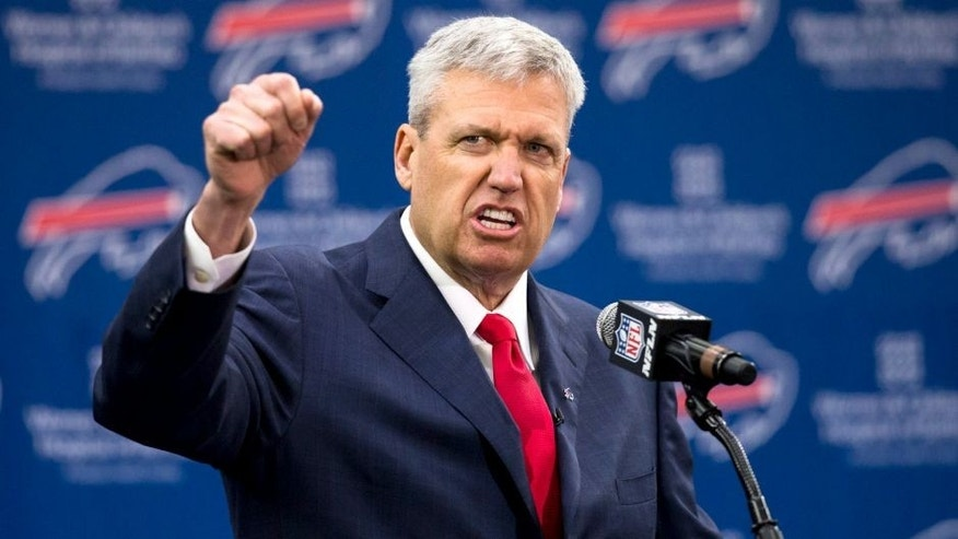 ORCHARD PARK, NY - JANUARY 14: Rex Ryan speaks at a press conference announcing his arrival as head coach of the Buffalo Bills on January 14, 2015 at Ralph Wilson Stadium in Orchard Park, New York. (Photo by Brett Carlsen/Getty Images)