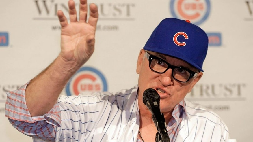Joe Maddon is introduced as the new manager of the Chicago Cubs baseball team Monday, Nov. 3, 2014, in Chicago. (AP Photo/M. Spencer Green)