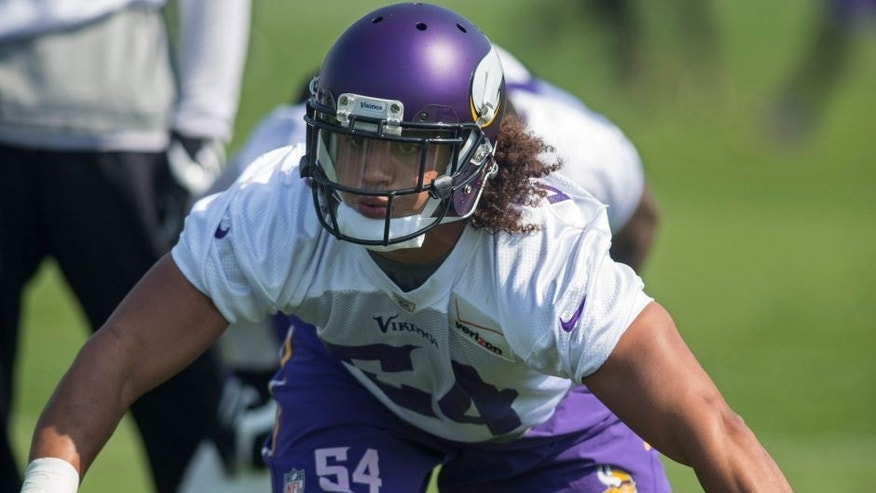 <p>May 27, 2015; Eden Prairie, MN, USA; Minnesota Vikings linebacker Eric Kendricks (54) works on drills at Winter Park. Mandatory Credit: Bruce Kluckhohn-USA TODAY Sports</p>