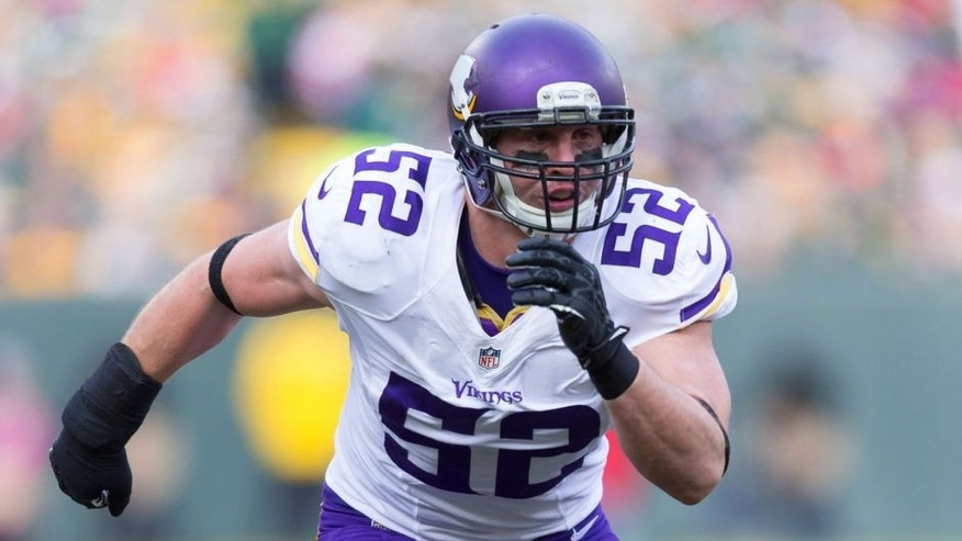 <p>Nov 24, 2013; Green Bay, WI, USA; Minnesota Vikings linebacker Chad Greenway (52) during the game against the Green Bay Packers at Lambeau Field. The Vikings and Packers tied 26-26. Mandatory Credit: Jeff Hanisch-USA TODAY Sports</p>