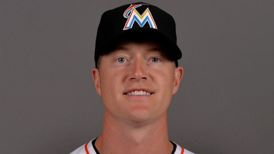 Feb 25, 2015; Jupiter, FL, USA; Miami Marlins pitcher Chris Narveson (45) poses during photo day at Roger Dean Stadium. Mandatory Credit: Steve Mitchell-USA TODAY Sports