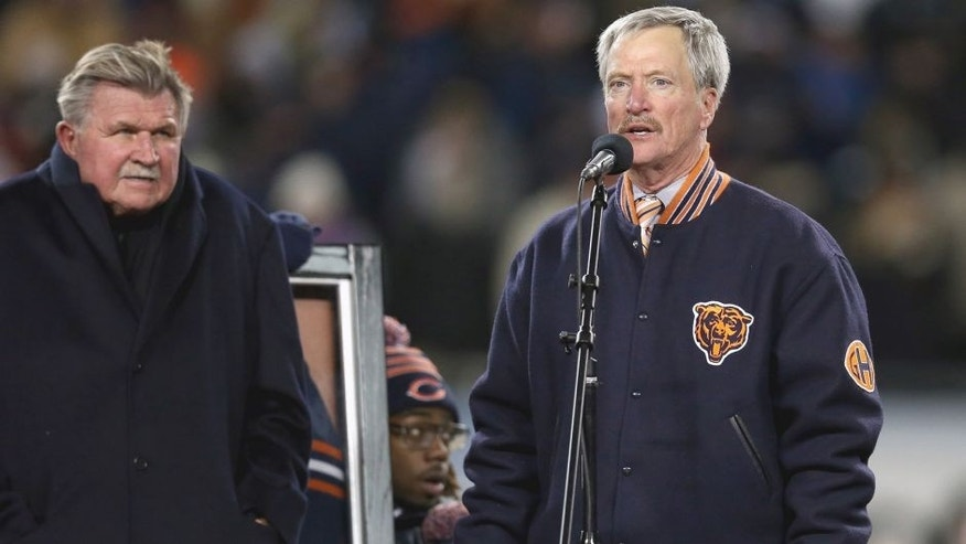 CHICAGO, IL - DECEMBER 09: Chariman George McCaskey of the Chicago Bears speaks during a number retirement ceremony for Mike Ditka during half-time of a game against the Dallas Cowboys at Soldier Field on December 9, 2013 in Chicago, Illinois. The Bears defeated the Cowboys 45-28. (Photo by Jonathan Daniel/Getty Images)