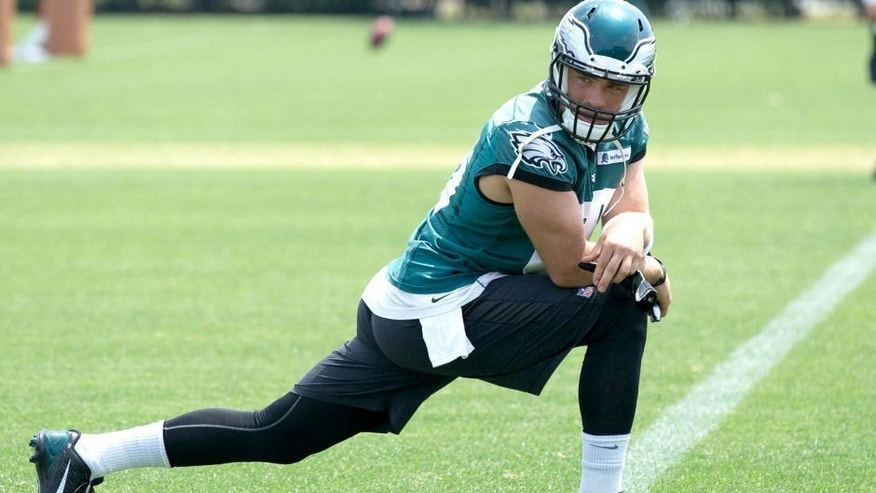 May 28, 2015; Philadelphia, PA, USA; Philadelphia Eagles tight end Zach Ertz (86) during OTA's at the NovaCare Complex. Mandatory Credit: Bill Streicher-USA TODAY Sports