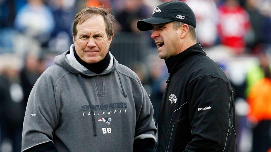Jan 22, 2012; Foxborough, MA, USA; New England Patriots head coach Bill Belichick (left) and Baltimore Ravens head coach John Harbaugh (right) talk before the start of the 2011 AFC Championship game at Gillette Stadium. Mandatory Credit: David Butler II-USA TODAY Sports