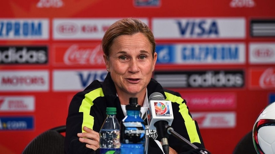 USA national team coach Jill Ellis speaks at a press conference at Lansdowne Stadium in Ottawa on June 25, 2015 on the eve of their 2015 FIFA Women's World Cup quarterfinal match against China. AFP PHOTO/NICHOLAS KAMM (Photo credit should read NICHOLAS KAMM/AFP/Getty Images)