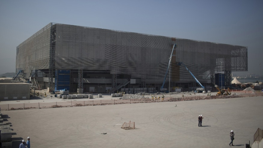 The future arena for Olympic handball is built in Rio de Janeiro, Brazil, Wednesday, Aug. 5, 2015.