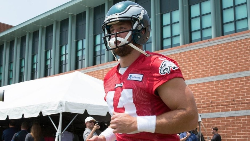 May 28, 2015; Philadelphia, PA, USA; Philadelphia Eagles quarterback Tim Tebow (11) takes the field during OTA's at the NovaCare Complex. Mandatory Credit: Bill Streicher-USA TODAY Sports