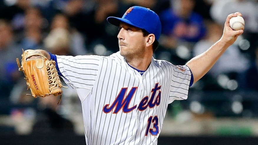 NEW YORK, NY - APRIL 17: (NEW YORK DAILIES OUT) Jerry Blevins #13 of the New York Mets in action against the Miami Marlins at Citi Field on April 17, 2015 in the Flushing neighborhood of the Queens borough of New York City. The Mets defeated the Marlins 4-1. (Photo by Jim McIsaac/Getty Images)