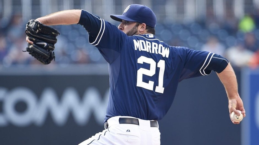 SAN DIEGO, CA - MAY 2: Brandon Morrow #21 of the San Diego Padres pitches during the first inning of a baseball game against the Colorado Rockies at Petco Park May 2, 2015 in San Diego, California. (Photo by Denis Poroy/Getty Images)