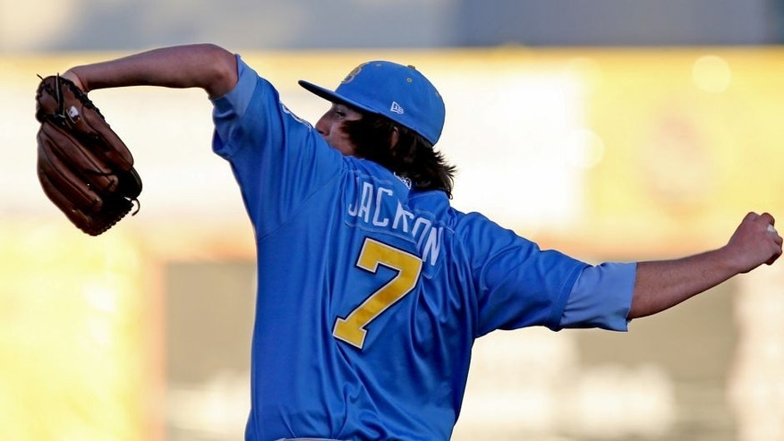 Jun 18, 2013; San Jose, CA, USA; Myrtle Beach Pelicans pitcher Luke Jackson (7) during the first inning of the California League vs Carolina League All Star Game at San Jose Municipal Stadium. Mandatory Credit: Kelley L Cox-USA TODAY Sports