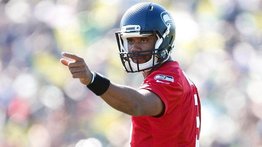 Jul 31, 2015; Renton, WA, USA; Seattle Seahawks quarterback Russell Wilson (3) during training camp practice at Virginia Mason Athletic Center. Mandatory Credit: Joe Nicholson-USA TODAY Sports