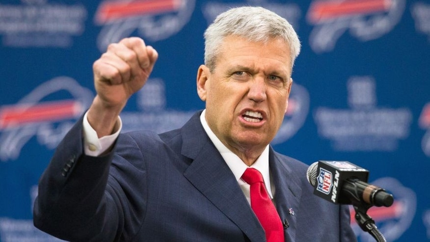 Rex Ryan speaks at a press conference announcing his arrival as head coach of the Buffalo Bills on January 14, 2015 at Ralph Wilson Stadium in Orchard Park, New York. (Photo by Brett Carlsen/Getty Images)
