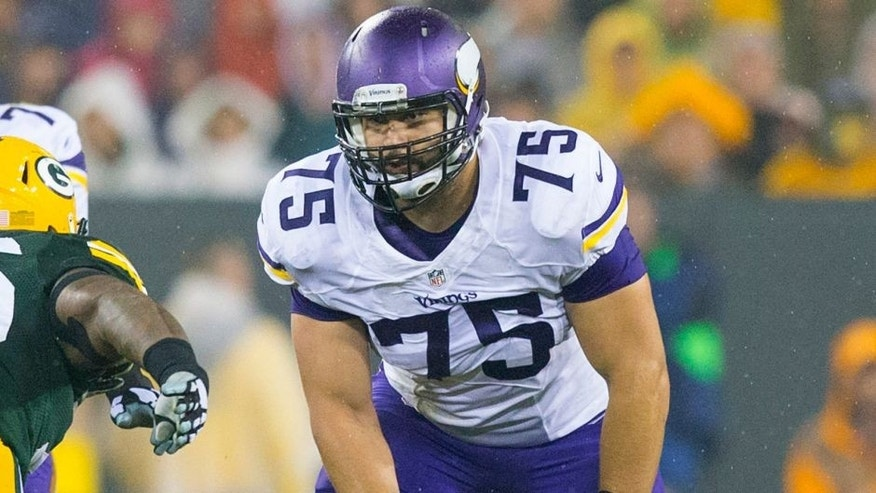<p>Oct 2, 2014; Green Bay, WI, USA; Minnesota Vikings offensive tackle Matt Kalil (75) during the game against the Green Bay Packers at Lambeau Field. Green Bay won 42-10. Mandatory Credit: Jeff Hanisch-USA TODAY Sports</p>