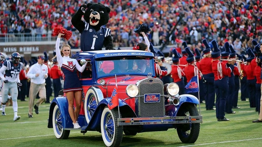 Oct 18, 2014; Oxford, MS, USA; General view as the Mississippi Rebels mascot Rebel takes the field in a Ole Miss car before the game against the Tennessee Volunteers at Vaught-Hemingway Stadium. Mandatory Credit: Spruce Derden-USA TODAY Sports