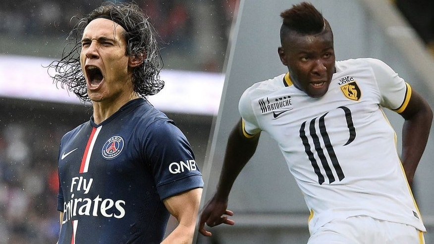 Paris Saint-Germain's Uruguyan forward Edinson Cavani celebrates after scoring a goal during the French L1 football match between Paris Saint-Germain and Lille on April 25, 2015 at the Parc des Princes in Paris. AFP PHOTO / FRANCK FIFE **ALTERNATIVE CROP** (Photo credit should read FRANCK FIFE/AFP/Getty Images) LOSC Lille's defender Amadou in action during the pre-season friendly between SC Braga and LOSC Lille at Estadio Municipal de Braga on August 1, 2015 in Braga, Portugal. (Photo by Gualter Fatia/Getty Images)