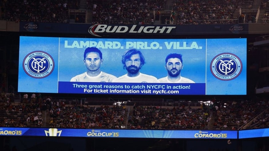 EAST RUTHERFORD, UNITED STAES - JULY 19: The Stadium LED Screen displays an advertisement featuring Frank Lampard, Andrea Pirlo and David Villa of New York City FC during the Gold Cup Quarter Final between Mexico and Costa Rica at MetLife Stadium on July 19, 2015 in East Rutherford, New Jersey. (Photo by Matthew Ashton - AMA/Getty Images)