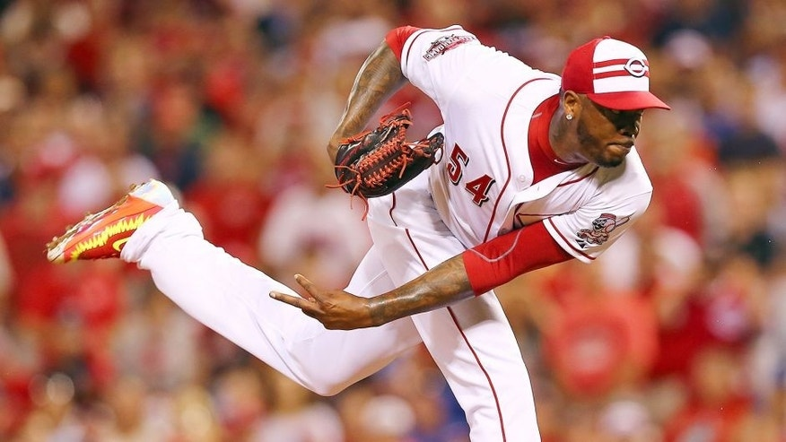 CINCINNATI, OH - JULY 14: National League All-Star Aroldis Chapman #54 of the Cincinnati Reds throws a pitch in the ninth inning against the American League during the 86th MLB All-Star Game at the Great American Ball Park on July 14, 2015 in Cincinnati, Ohio. (Photo by Elsa/Getty Images)