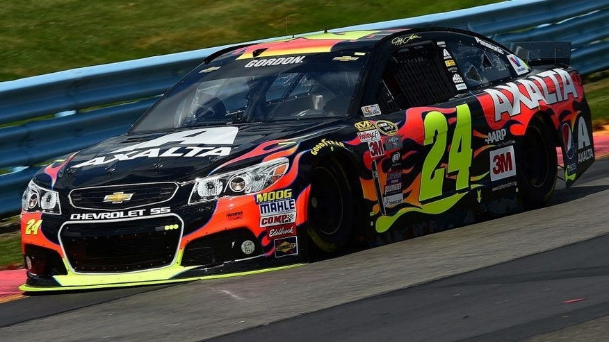 WATKINS GLEN, NY - AUGUST 07: Jeff Gordon, driver of the #24 Axalta Chevrolet, practices for the NASCAR Sprint Cup Series Cheez-It 355 at Watkins Glen International on August 7, 2015 in Watkins Glen, New York. (Photo by Jared C. Tilton/NASCAR via Getty Images)