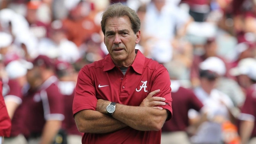 Sep 14, 2013; College Station, TX, USA; Alabama Crimson Tide head coach Nick Saban on the field prior to the game against the Texas A&M Aggies at Kyle Field. Mandatory Credit: Matthew Emmons-USA TODAY Sports