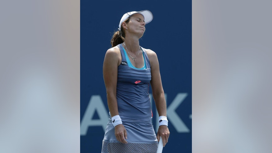 Varvara Lepchenko reacts after losing a point to Karolina Pliskova, from Czech Republic, during a semifinal in the Bank of the West Classic tennis tournament in Stanford, Calif., Saturday, Aug. 8, 2015. (AP Photo/Jeff Chiu)