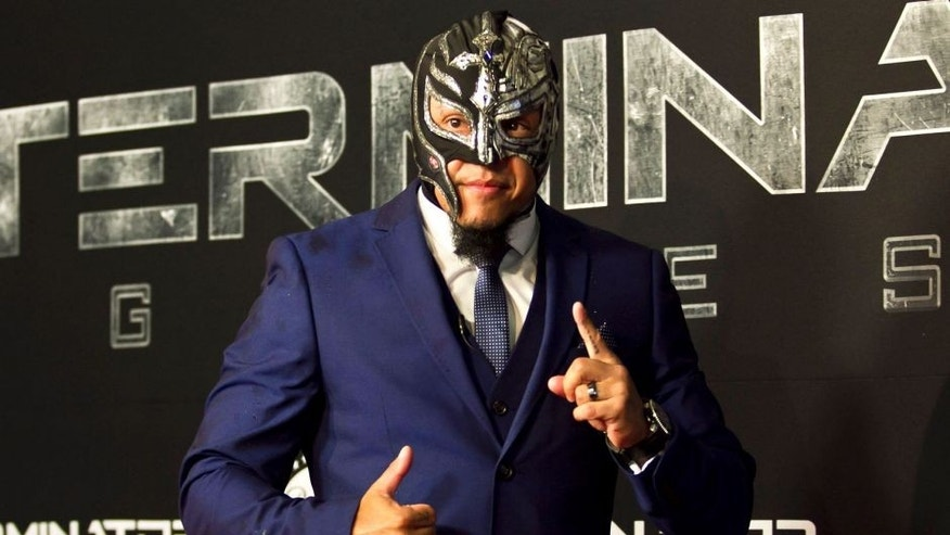 MEXICO CITY, MEXICO - JULY 01: Mexican wrestler Rey Mysterio Jr attends the Mexican Premiere of Terminator Genesis at Cinepolis Plaza Universidad on July 01, 2015 in Mexico City, Mexico. (Photo by Luis Ortiz/Clasos/LatinContent/Getty Images)