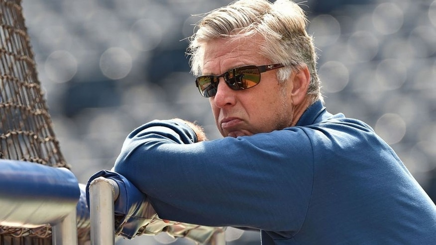 May 3, 2015; Kansas City, MO, USA; Detroit Tigers general manager David Dombrowski watches batting practice prior to the game against the Kansas City Royals at Kauffman Stadium. Mandatory Credit: Peter G. Aiken-USA TODAY Sports
