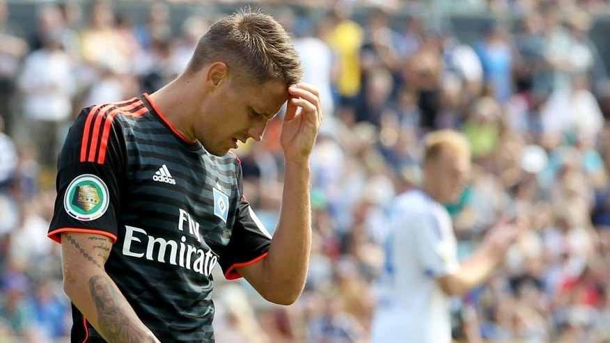 JENA, GERMANY - AUGUST 09: Ivo Ilicevic of Hamburger SV looks dejected after a goal chance during the First Round of DFB-Cup between FC Carl Zeiss Jena and Hamburger SV at Ernst-Abbe-Sportfeld on August 09, 2015 in Jena, Germany. (Photo by Karina Hessland/Bongarts/Getty Images)