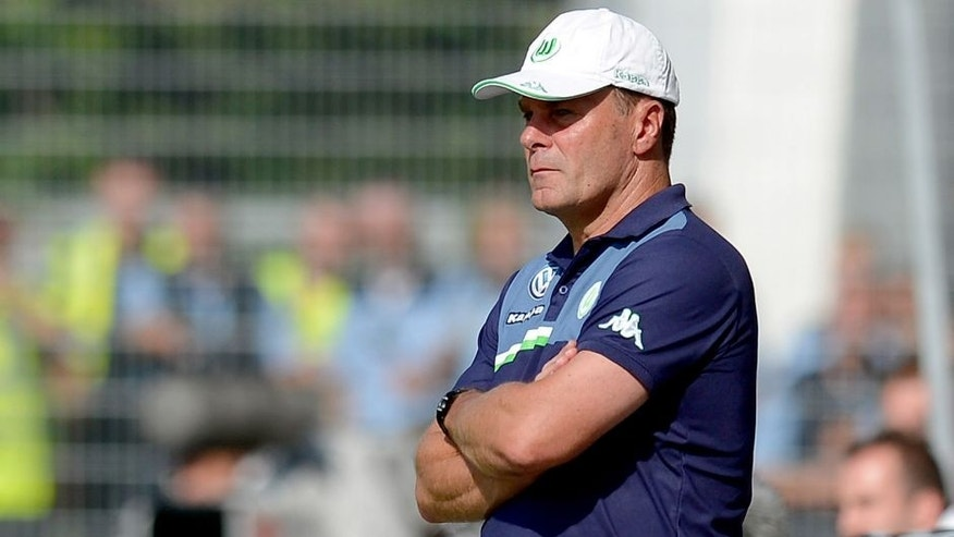 STUTTGART, GERMANY - AUGUST 09: Coach Dieter Hecking of Wolfsburg reacts during the DFB Cup First Round match between Stuttgarter Kickers and VfL Wolfsburg at GAZI-Stadion on August 9, 2015 in Stuttgart, Germany. (Photo by Daniel Kopatsch/Bongarts/Getty Images)
