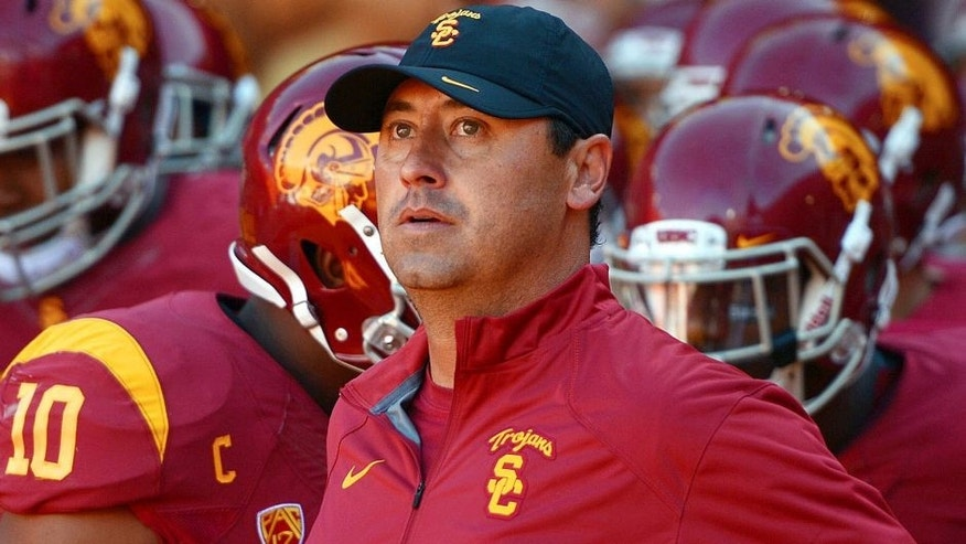 Aug 30, 2014; Los Angeles, CA, USA; Southern California Trojans coach Steve Sarkisian before the game against the Fresno State Bulldogs at Los Angeles Memorial Coliseum. Mandatory Credit: Kirby Lee-USA TODAY Sports