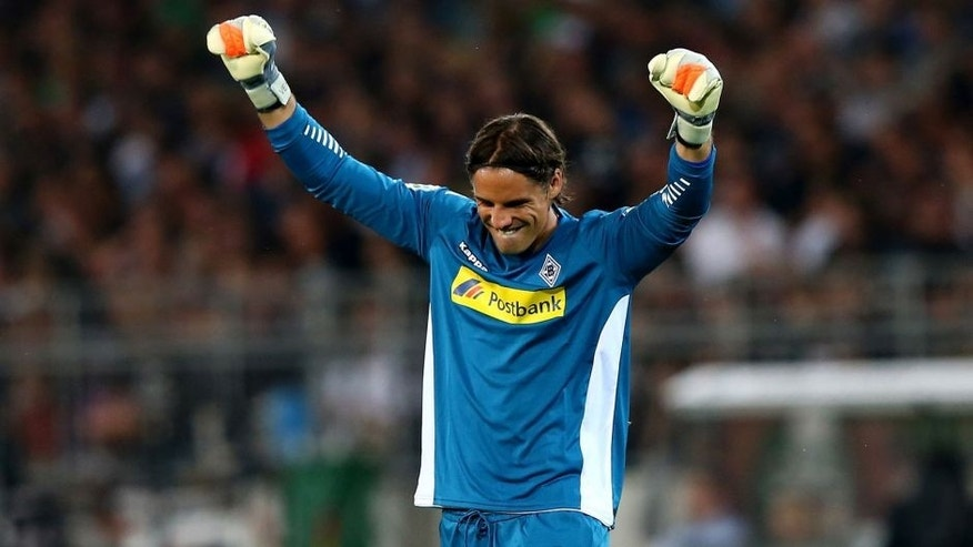 HAMBURG, GERMANY - AUGUST 10: Yann Sommer, goalkeeper of Moenchengladbach celebrates during the DFB Cup First Round match between FC St.Pauli and Borussia Moenchengladbach at Millerntor Stadium on August 10, 2015 in Hamburg, Germany. (Photo by Martin Rose/Bongarts/Getty Images)