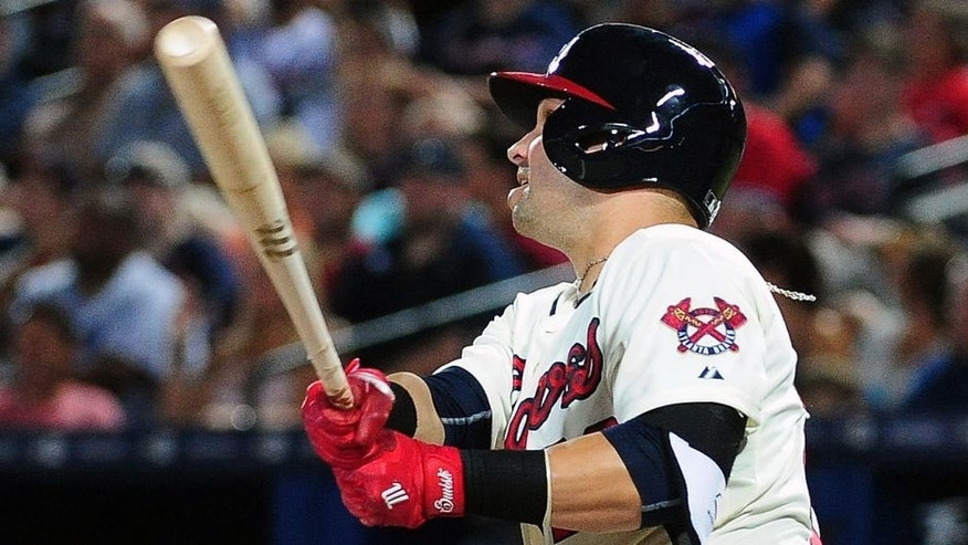 ATLANTA, GA - AUGUST 8: Nick Swisher #23 of the Atlanta Braves knocks in two runs with a seventh inning double against the Miami Marlins at Turner Field on August 8, 2015 in Atlanta, Georgia. (Photo by Scott Cunningham/Getty Images)
