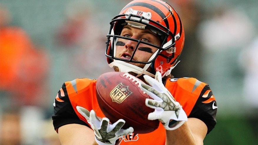 Nov 17, 2013; Cincinnati, OH, USA; Cincinnati Bengals tight end Tyler Eifert (85) warms up before the game against the Cleveland Browns at Paul Brown Stadium. Cincinnati won 41-20. Mandatory Credit: Kevin Jairaj-USA TODAY Sports